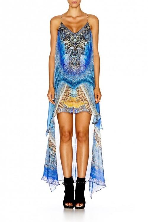 Split Front Dress with Long Back