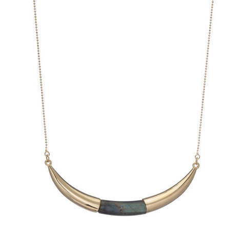 Arc Shaped Necklace with Labradorite in Center