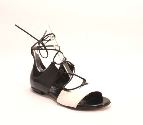 336b7024fade Black   White Leather Gladiator Flats Sandals