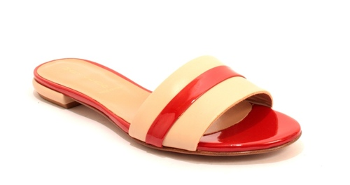 Beige Red Leather / Patent Leather Slides Flats Sandals