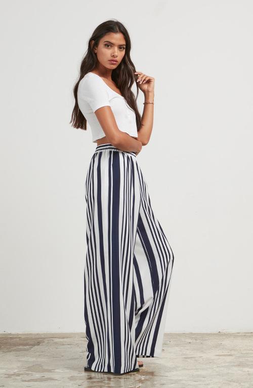 Jillian Wide Leg Striped Pant