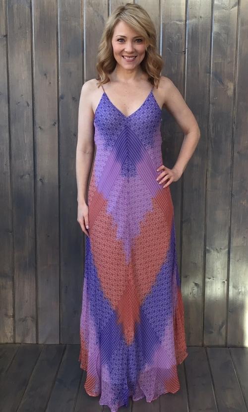 Chevron Shades Silk Maxi Dress