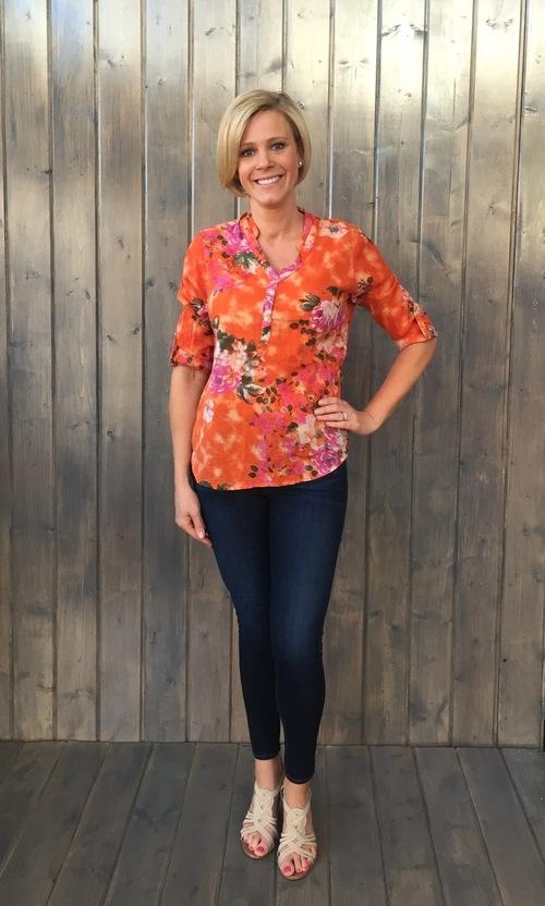 Tangerine & Fuchsia Rose Shirt