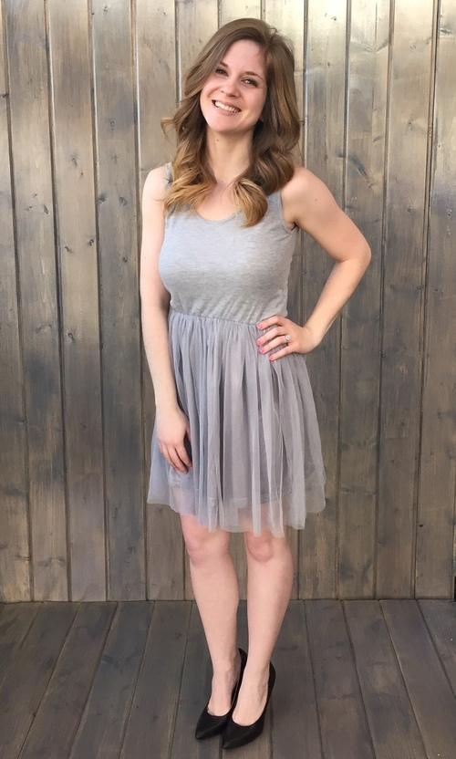 Chiffon Skirted Grey Dress