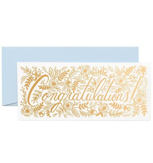 Champagne Floral Congrats Money Card