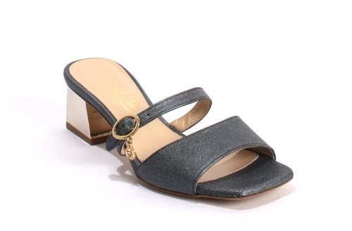 Gray Color Leather Double Strap Heels Sandals