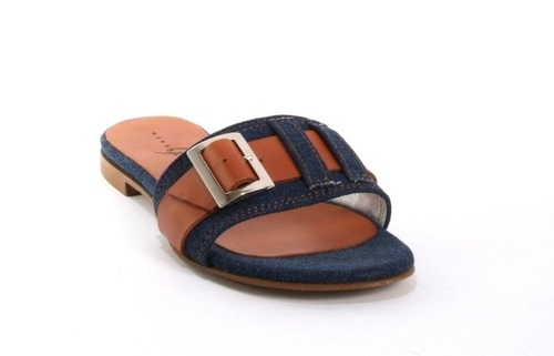 8ab9edf878c9 Denim   Brown Leather Buckle Slides Sandal Flat. Gibellieri ...