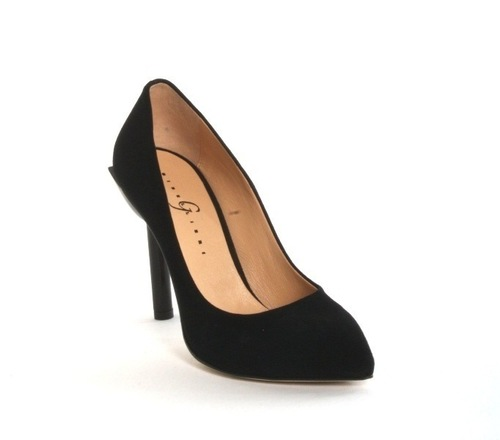 Black Suede Geometric Heel Pointy Pumps