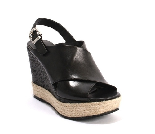 Black Leather Espadrille Wedge Sandals