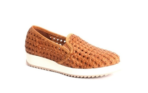 the latest a6c18 def6f Brown Woven Leather Slip-On Sneakers Slippers Shoes