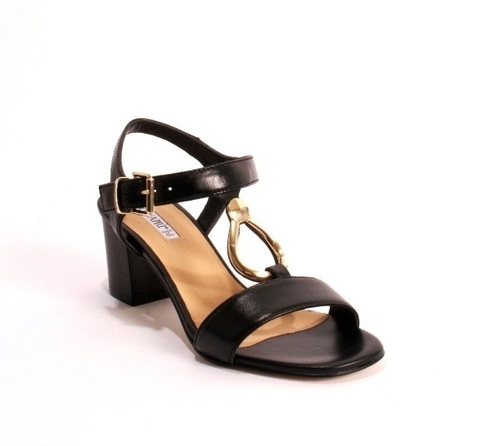 Comfort Black Leather Heel Ankle T-Strap Sandals