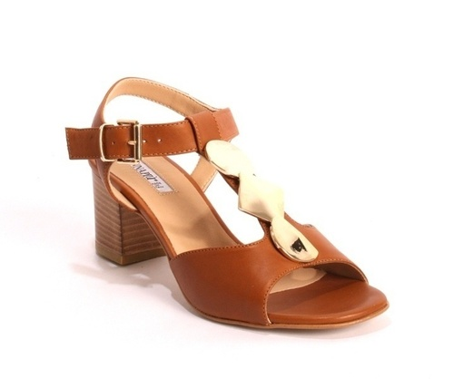 Comfort Brown Leather Heel Ankle T-Strap Sandals