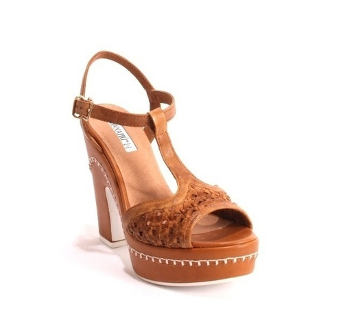 Brown Woven Leather Platform Heel Ankle Strap Sandals
