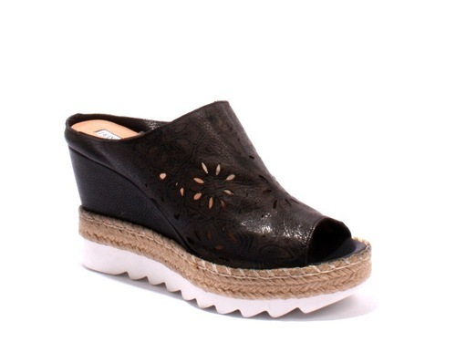 Black Brown Leather Espadrille Platform Wedge Slides