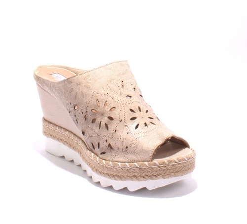 Beige Brown Leather Espadrille Platform Wedge Slides