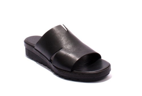 Black Leather Comfort Slides Flats Wedge Sandals