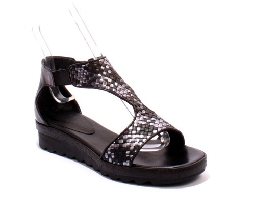 5252f Black / Silver Woven Leather Flats Wedge Sandals