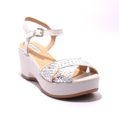 White & Silver Woven Leather Platform Wedge Sandals