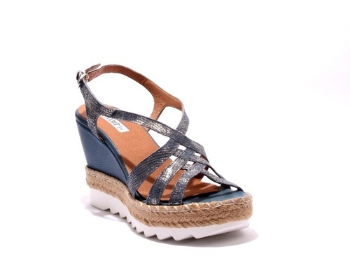 Multi Color Leather Espadrille Platform Wedge Sandals