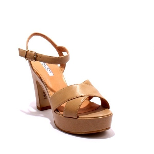 Beige Leather Platform Heel Ankle Strap Sandals