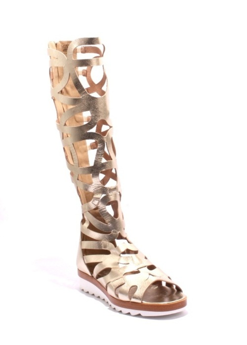 Gold Strappy Leather Gladiators Back Zipper Sandals
