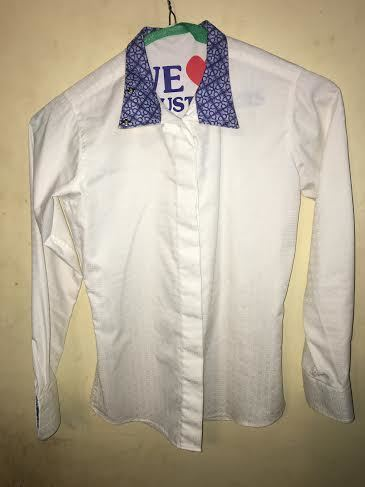 Consignment Show Shirt White w/ blue collar 10