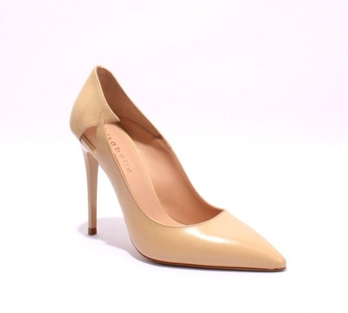 Beige Leather Stiletto Heels Pointy Toe Pumps