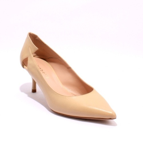 Beige Leather Pointy Toe Pumps
