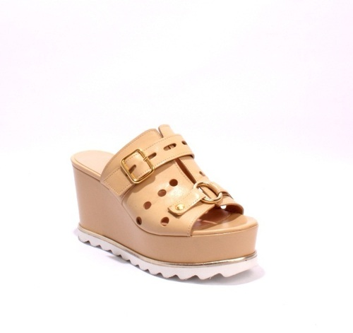 Biege Perforated Leather Buckle Wedge Sandals Mules
