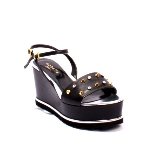 Black Leather Gold Studs Ankle Strap Wedge Sandals