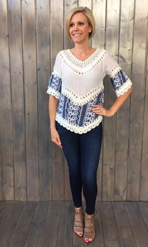 Blue Print Crochet Woven Top