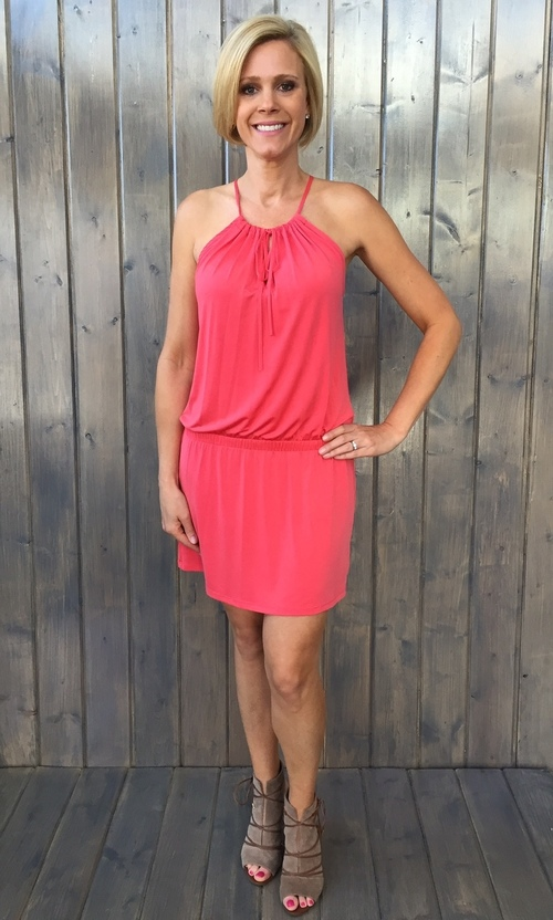 Coral Dropwaist Keyhole Dress