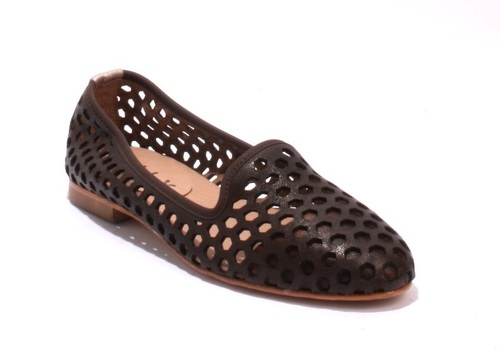 Brown / Bronze Soft Perforated Leather Ballet Flats