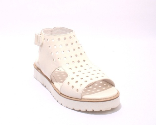 Off White Soft Perforated Leather Ankle Cuff Sandals