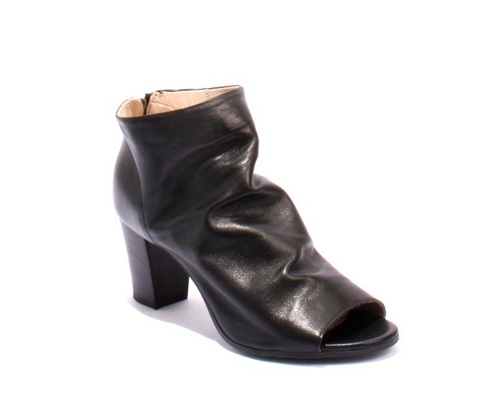 Black Soft Leather Open Toe Back Zip Heel Summer Booties