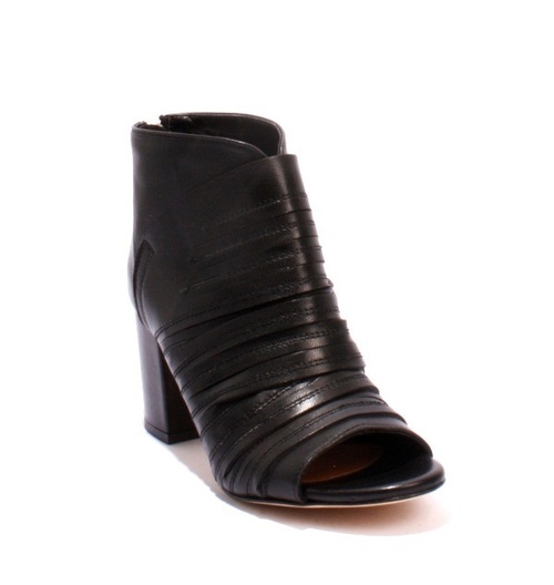Black Leather Open Toe Back Zip Heel Summer Booties