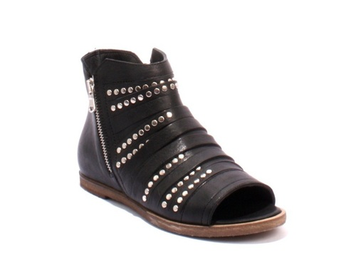 Black Leather Open Toe Zip Studded Ankle Summer Booties