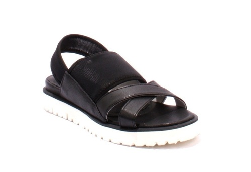 Black Leather / Elastic Mash Slingbacks Sandals