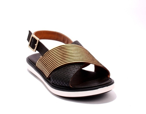 Black Gold Leather Snakeskin Embossed Slingbacks Sandals