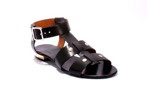 Black Leather Strappy Studded Gladiators Sandals