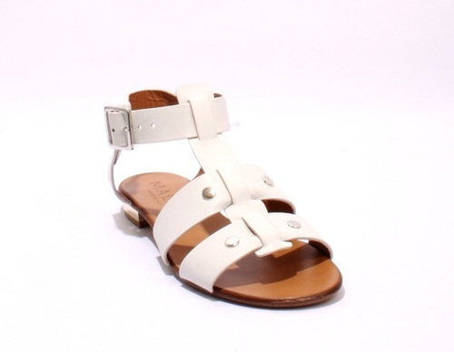 Off White Leather Strappy Studded Gladiators Sandals