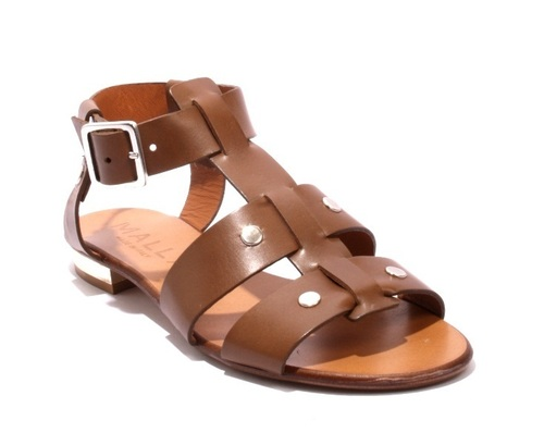 Brown Leather Strappy Studded Gladiators Sandals