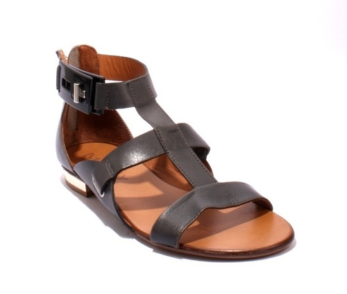 Grey Leather Strappy Gladiators Zipper Sandals