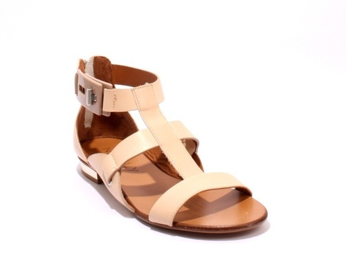 Beige Leather Strappy Gladiators Zipper Sandals