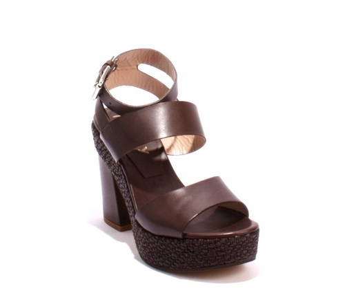 Dark Brown Leather Platform Heels Ankle Strap Sandals