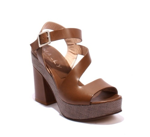 Taupe Leather Platform Heels Ankle Strap Sandals