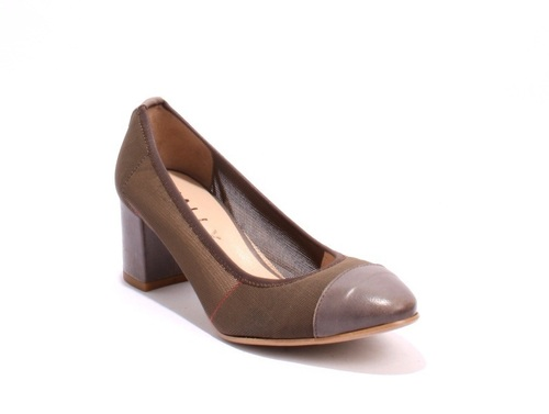 Pewter Leather / Brown Stretch Vintage Look Heels