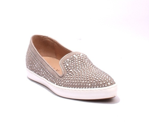 Gray Studded Suede Pointy Toe White Platform Loafers Flats