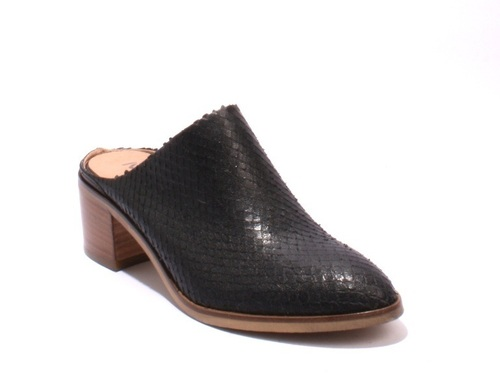 Black Snakeskin Embossed Leather Sandals Mules