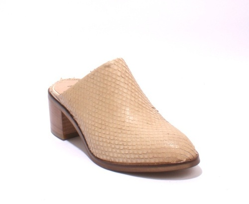 Beige Snakeskin Embossed Leather Sandals Mules
